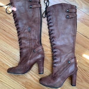 Sam Edelman Distressed Knee-High Leather Boots